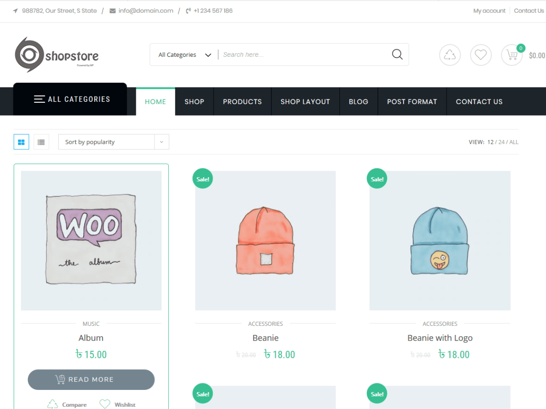 ShopStore Free Ecommerce Store WordPress Themes