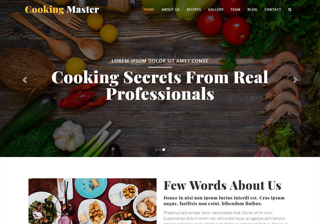 Cooking Class Website Template Free Download For Your School