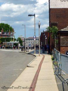 Just follow the red brick sidewalk