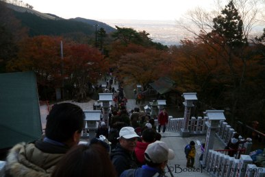 The line for the cable car ran up the stairs to Oyama Afuri Shrine