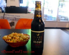 HiteJinro black beer stout with some drinking snack