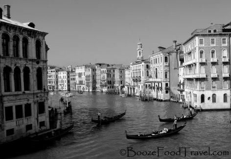 Watching the gondolas in the Grand Canal