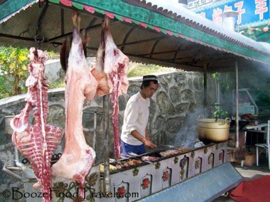 Lamb kabob vendor at Heavenly Lake in Xinjiang