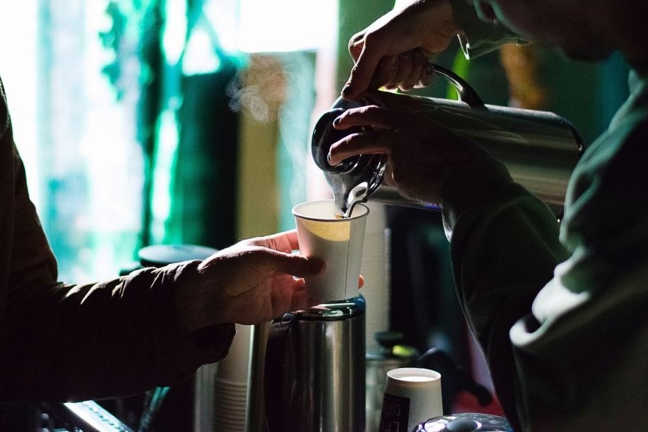 Pouring Coffee at AA Meeting