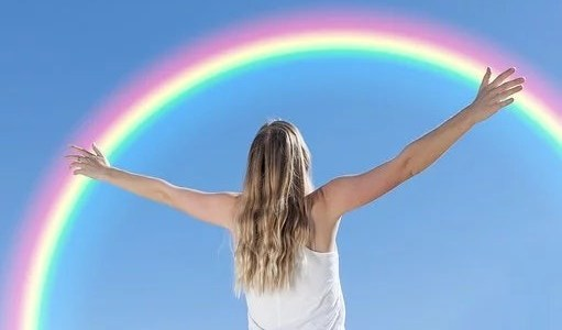 The Unexpected Lightness of Sobriety Woman with Rainbow