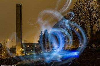 Manglerud Kirke; Church; light streaks; night photography