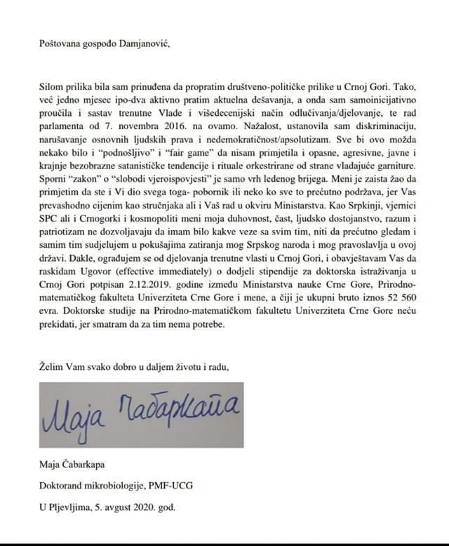 """""""НЕ ЖЕЛИМ ДА УЧЕСТВУЈЕМ У ПОКУШАЈИМА ЗАТИРАЊА МОГ СРПСКОГ НАРОДА И ПРАВОСЛАВЉА У ОВОЈ ДРЖАВИ!"""" Докторанд Маја Чабаркапа одбила стипендију режима Црне Горе"""
