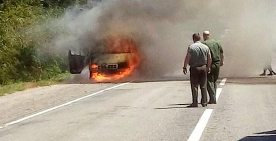 Пожар на дороге в Калаче