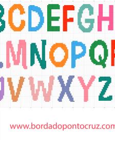 alfabeto colorido infantil em ponto cruz 30 de Altura