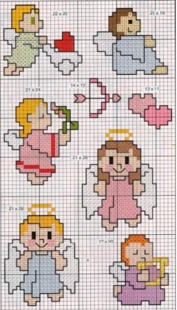 bonecos anjos em ponto cruz 3