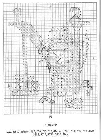Alfabeto Gatos DMC marmalade cats 16