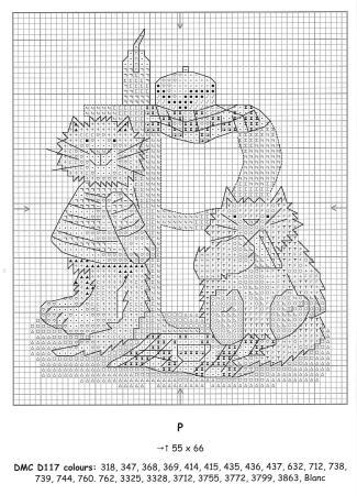 Alfabeto Gatos DMC marmalade cats 18