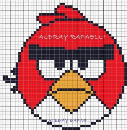 Angry Birds Passaro vermelho 03 em ponto cruz