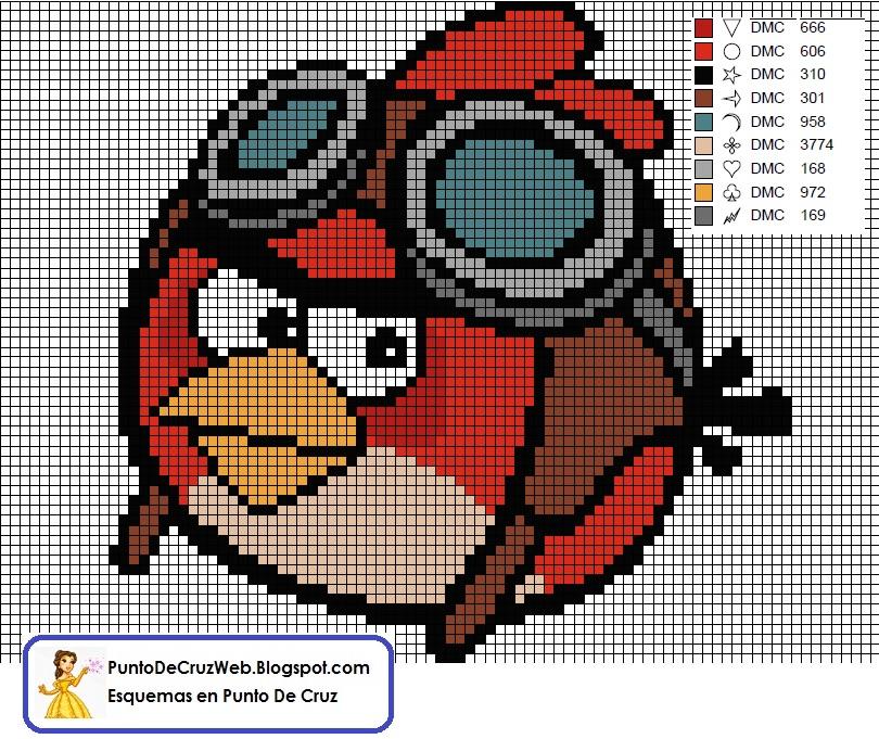 Angry Birds Passaro vermelho 04 em ponto cruz