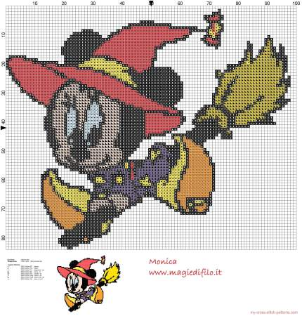 Minnie Mouse no Halloweeen em ponto cruz