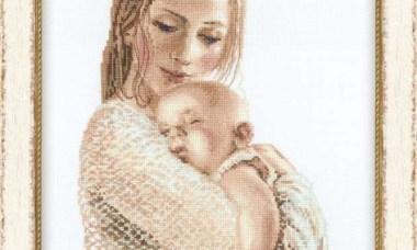 Quadro Delicado Mãe Fazendo Bebê dormir BordadoPontoCruz 01