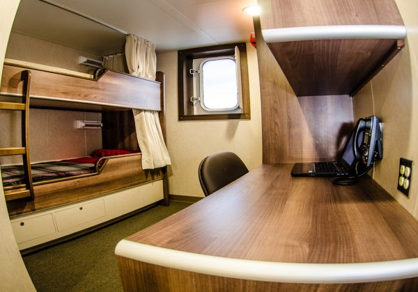 Two bunk stateroom has individual TVand Wi Fi and phone hookups. 257-foot, Conner Bordelon, MSVP built for Bordelon Marine by Bordelon Marine Shipbuilders