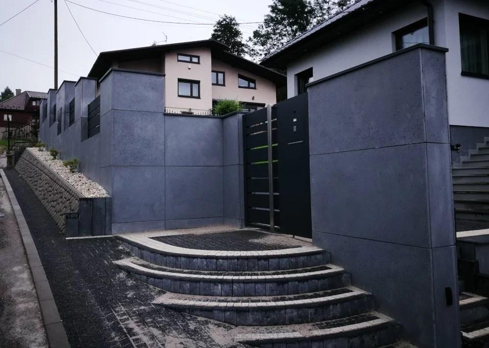 ogrodzenie murowane ogrodzenia border ogrodzenia aluminiowe alugate beton architektoniczny rfid videodomofon 2 1