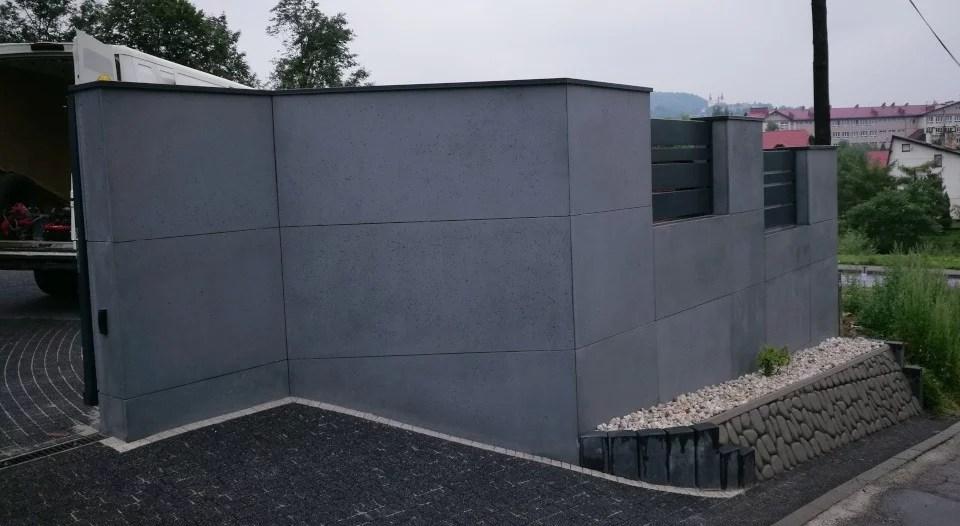 ogrodzenie murowane ogrodzenia border ogrodzenia aluminiowe alugate beton architektoniczny rfid videodomofon 4