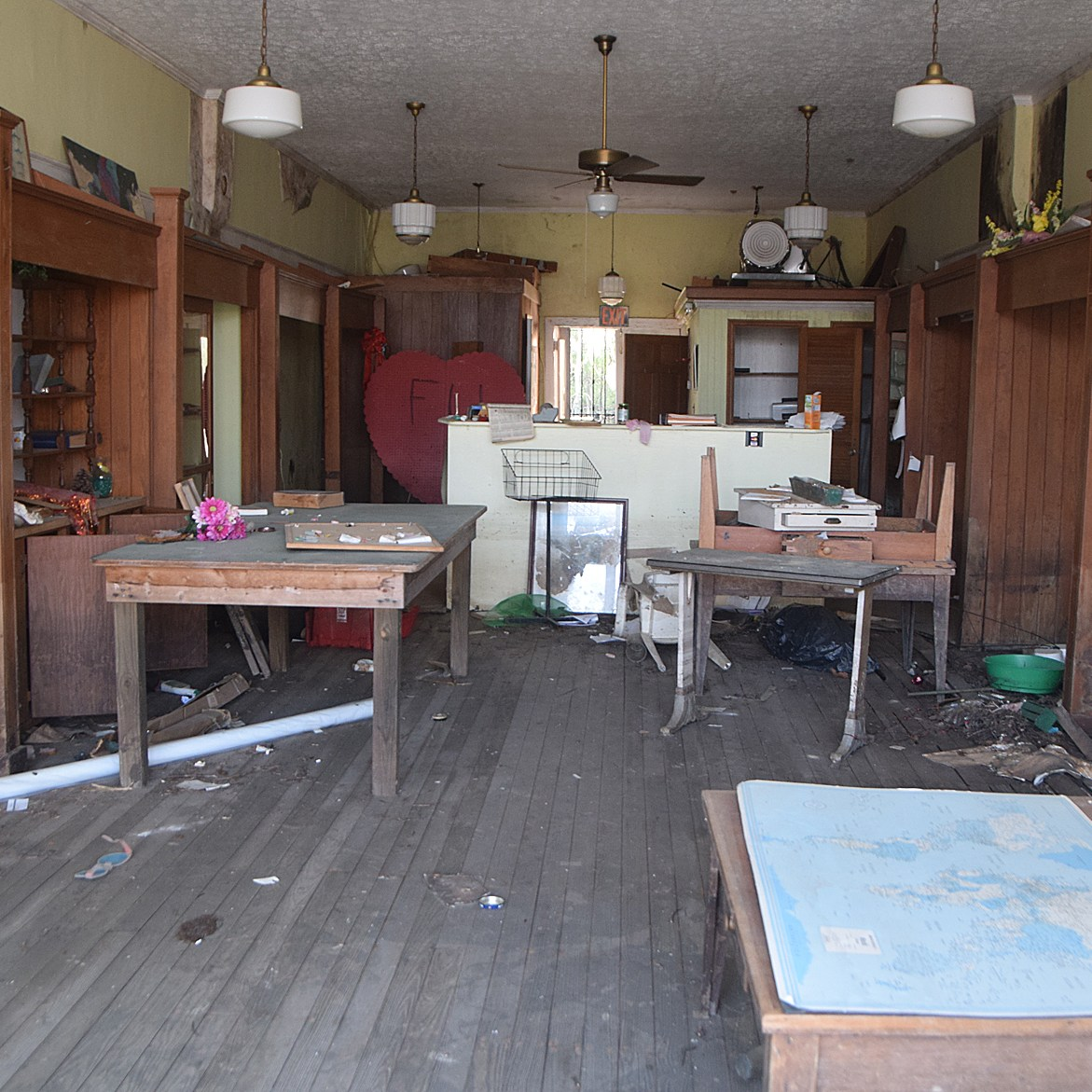 The interior of an abandoned downtown Fair Bluff business shows the extent of the damage from Hurricane Florence.
