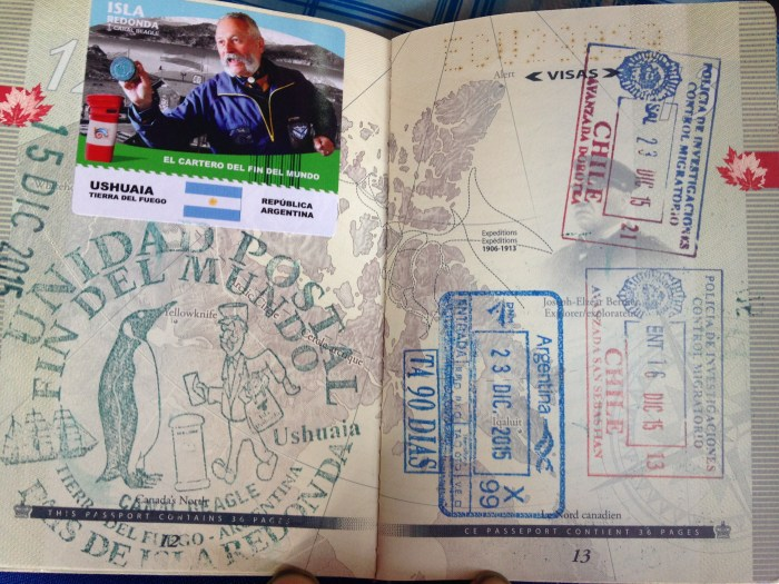 The stamps that were lost with my passport, including the one from the bottom of the world.