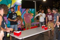 Splitting into pairs with an onlooking crowd the Bounce Beer Pong league began.