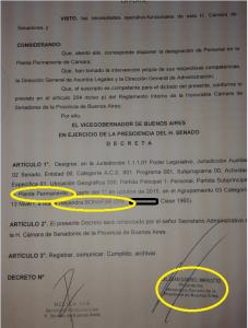 El decreto del pase de Mariotto para Alejandra Bonafini.