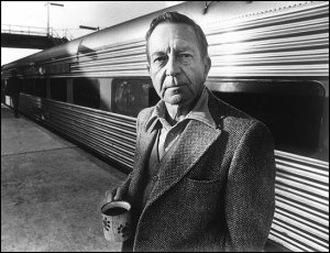 B&W File 1979. Author John Cheever in 1979 at the Croton railroad station in Westchester County, New York. Photo by Donal (cq) F. Holway FTWP. [flatbed scan 06-30-04]