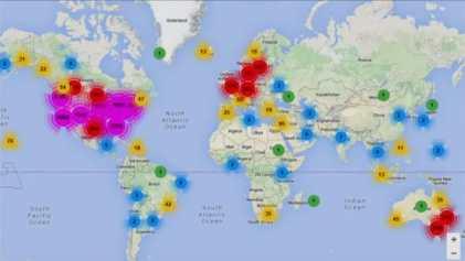 Mapa de donantes e hijos concebidos por donación registrados en la ONG.