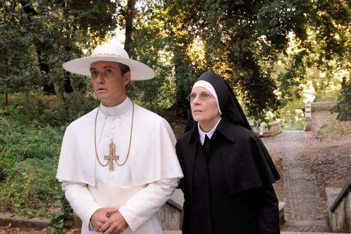 """set of """"The young Pope"""" by Paolo Sorrentino. 08/19/2015 sc.126 - ep 1 in the picture Jude Law and Diane Keaton. Photo by Gianni Fiorito"""