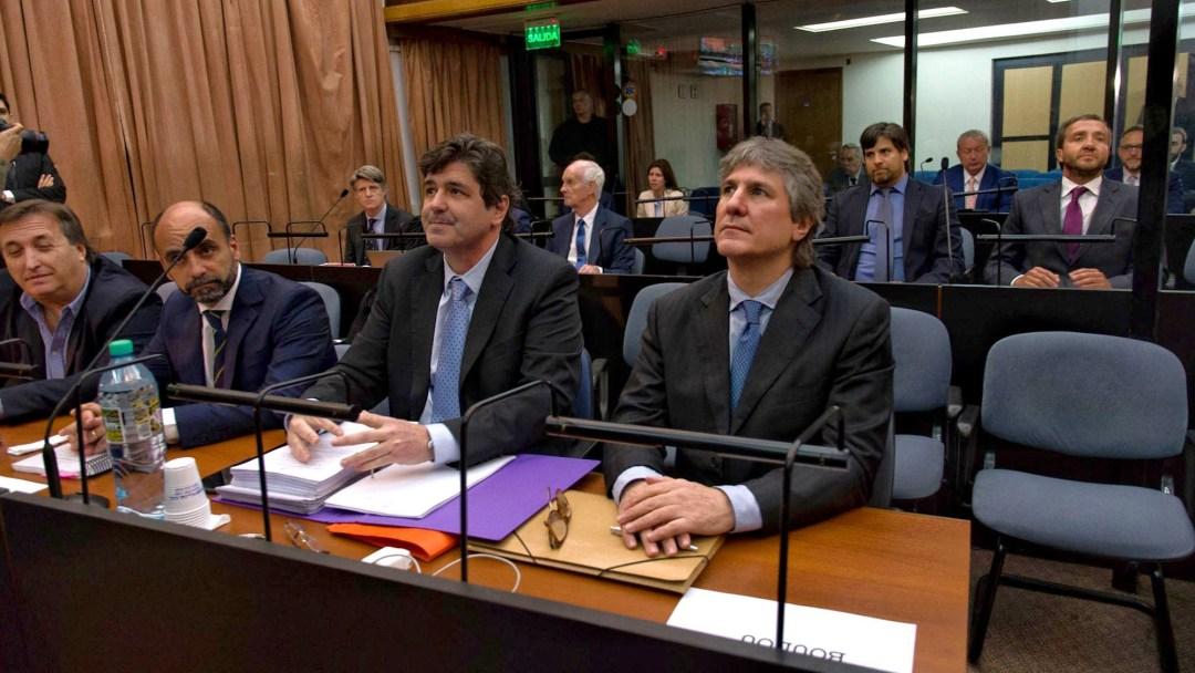 Boudou, en el juicio por Ciccone, con su socio Núñez Carmona y atrás, Vandenbroele.