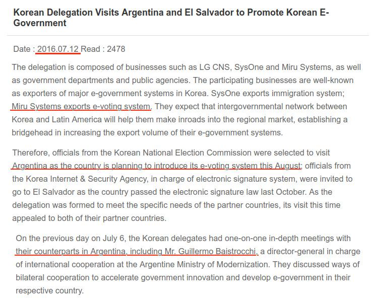 Corea detalla la reunión con Modernización por el voto electrónico.