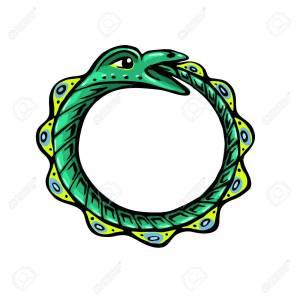 Uroboros. The green snake eats its own tail. Eternity or infinity Magic symbol. Mythology and snakes, stylized vector illustration.