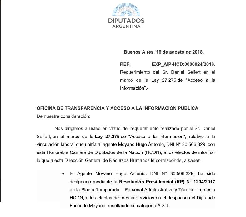 Extracto de la respuesta oficial de la Cámara de Diputados.