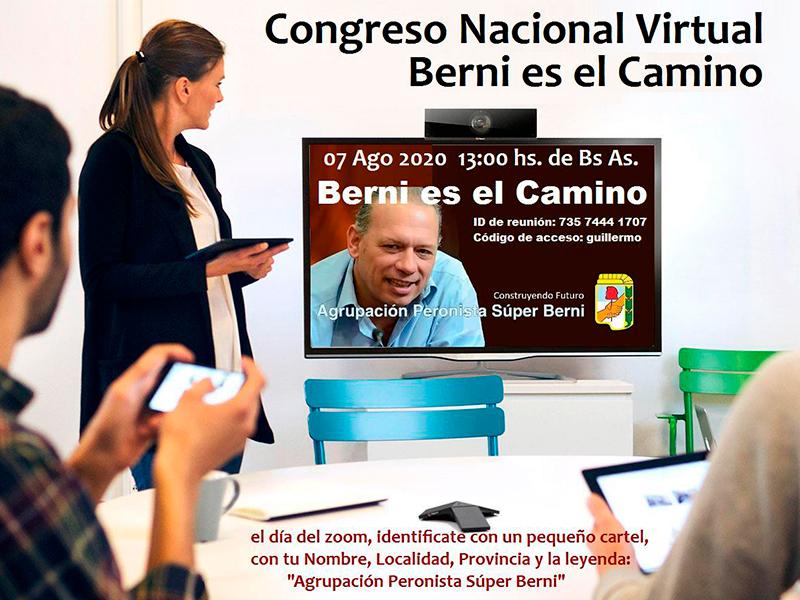 La invitación que cursa la Agrupación Peronista Super Berni para participar de una reunión virtual entre militantes