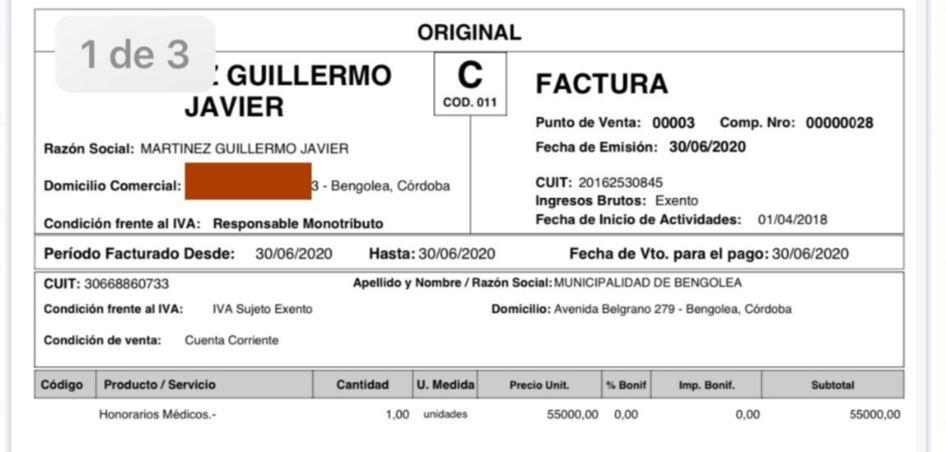Guillermo Martínez le factura a la Municipalidad de Bengolea unos $55.000 mensuales