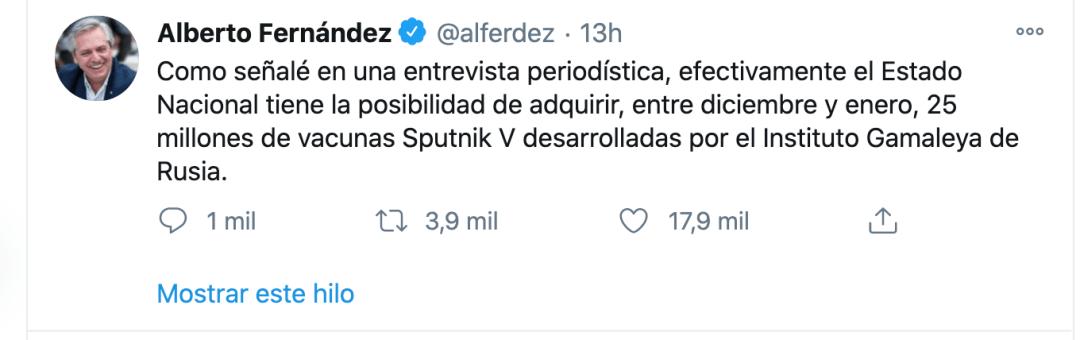 El tuit de Alberto Fernández donde anunció que el gobierno argentino compró 25 millones de vacunas Sputink V