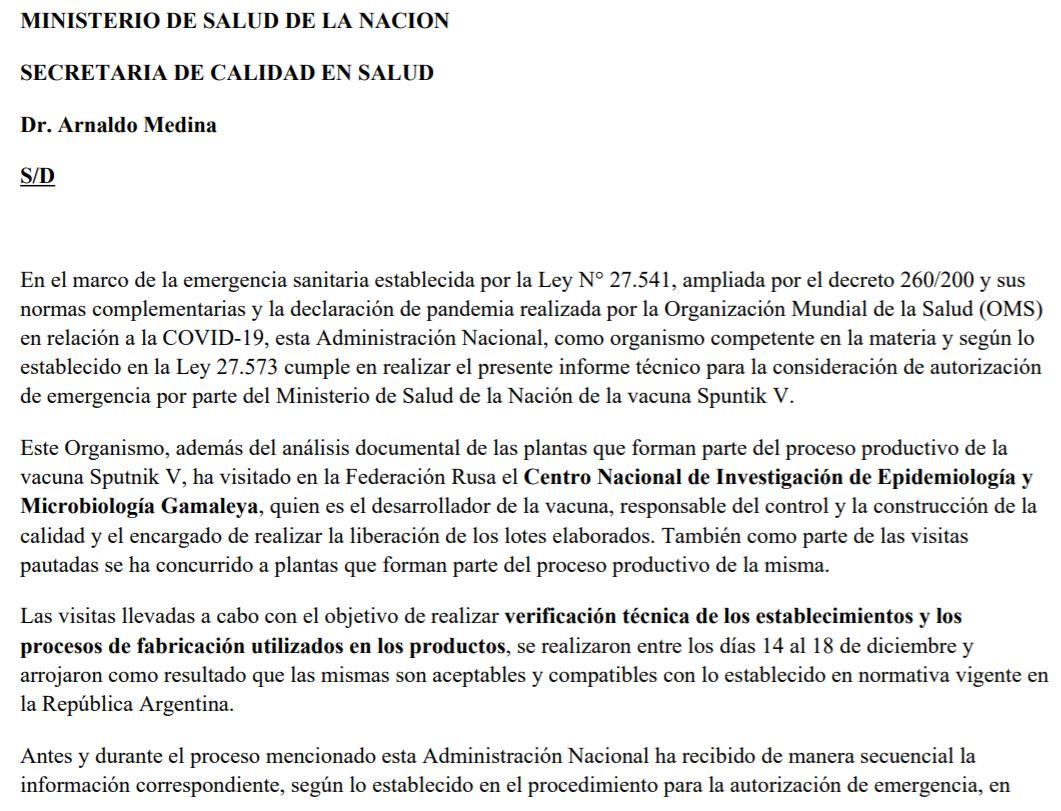 El documento de la ANMAT en el que se da la aprobación de la vacuna Sputnik V