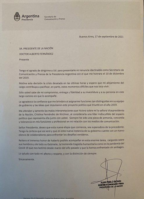 La carta de renuncia de Juan Pablo Biondi