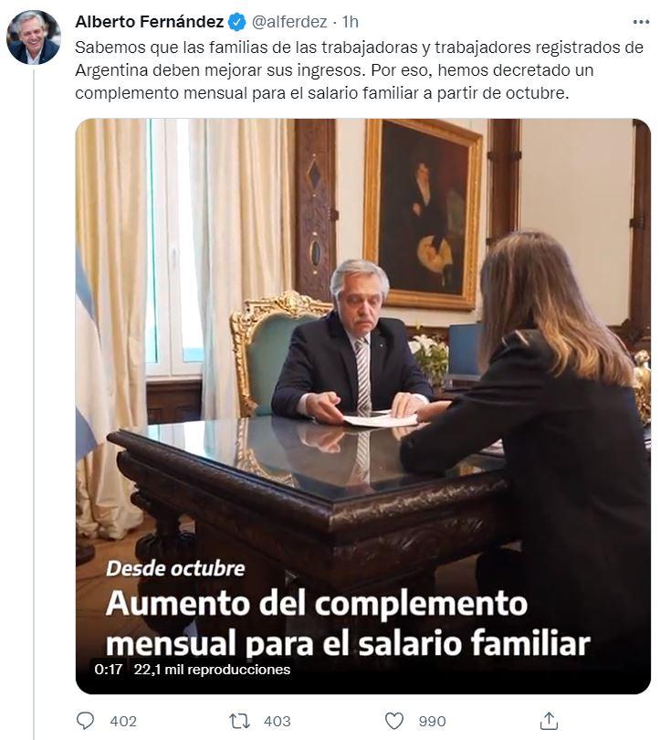 El anuncio de Alberto Fernández en Twitter