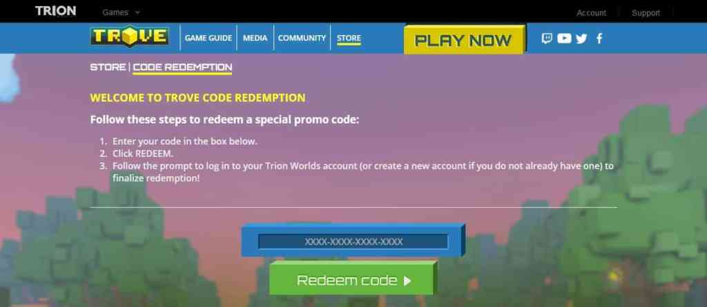 trove promo codes redeem page official website