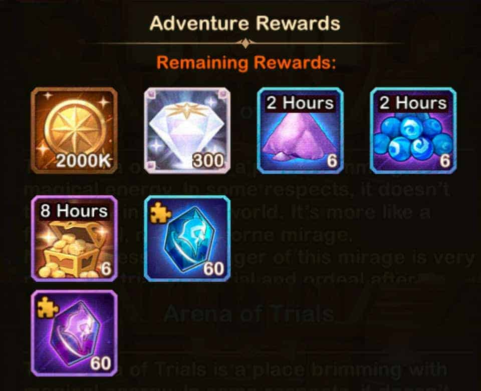isabella arena of trials rewards