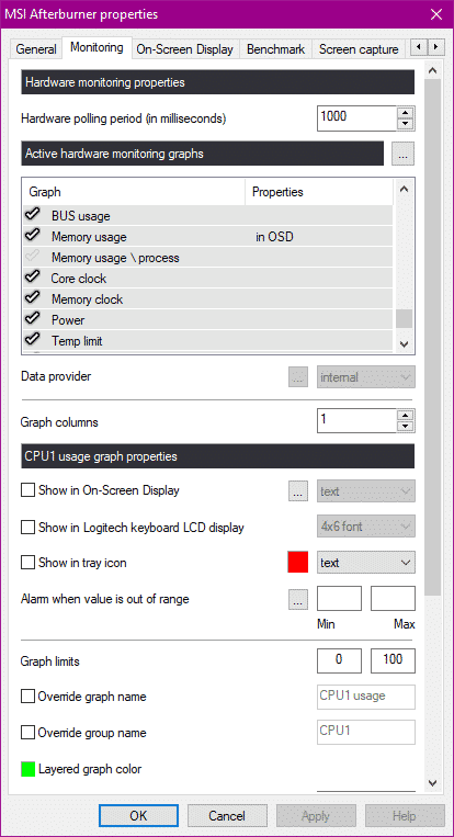 MSI Afterburner monitoring visible in OSD or not