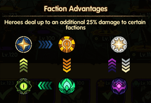 afk arena heroes factional advantage