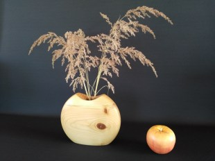 Red Pine Turned Vase with glass insert