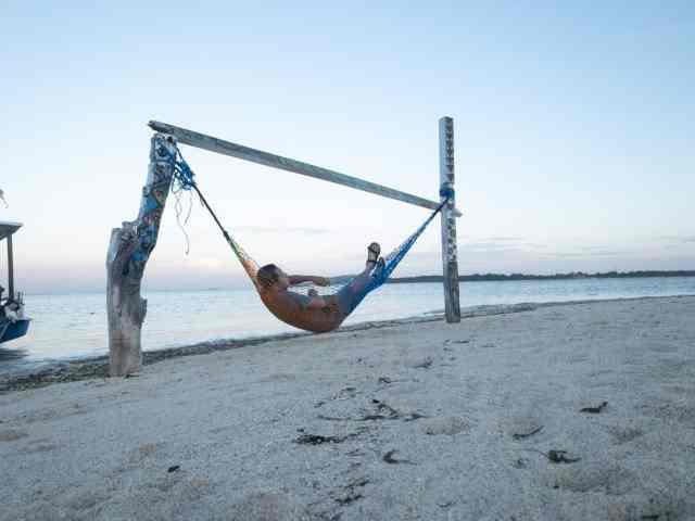 Hammock on the beach of Gili Air Island