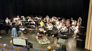 Borge Musikkorps på øvelse dagen før Sommer for Swingende på Blå Grotte i Fredrikstad