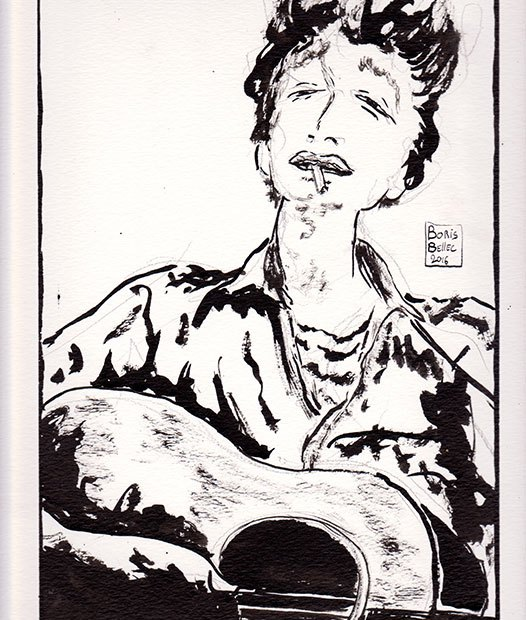 illustration bob dylan dessin michael ochs Bob Dylan Portrait With Acoustic Guitar & Cigarette