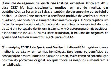 Sonae volume de negócios Sports and Fashion