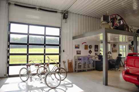 lined-hobby-shop-glass-sliding-garage-door